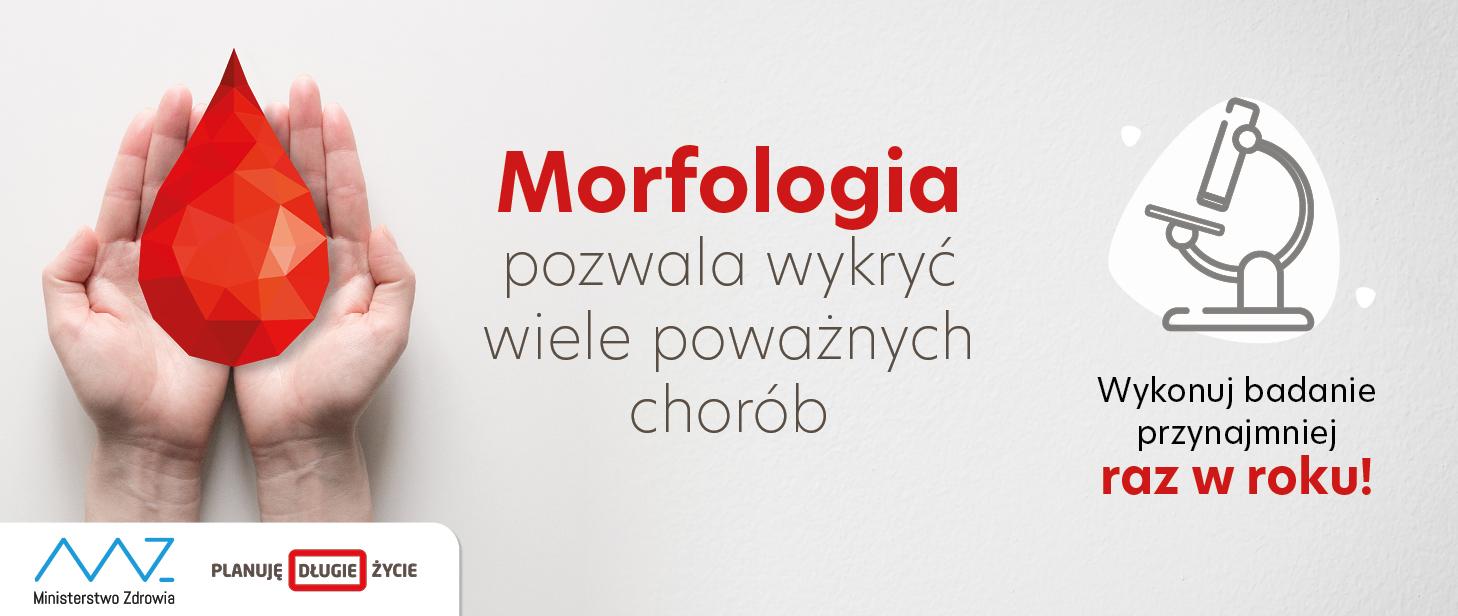 Dłonie, krwinka, tekst: morfologia pozwala wykryć wiele poważnych chorób.