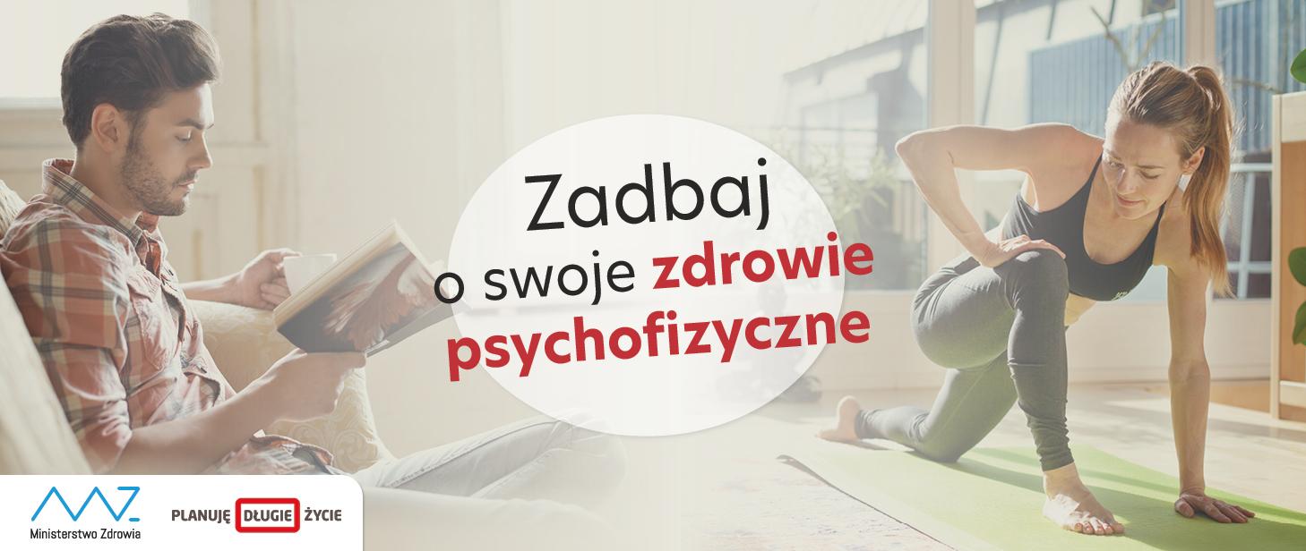 Kobieta ćwicząca, mężczyzna z książką i tekst zadbaj o swoją kondycję psychofizyczną.